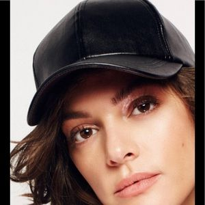 Free People Faux Leather Baseball  cap